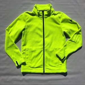 Green Black Under Armour Fleece Zip Front Jacket